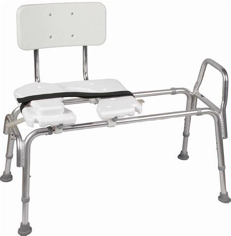 sliding shower transfer seat heavy duty sliding transfer bench w cut out seat 522 1734