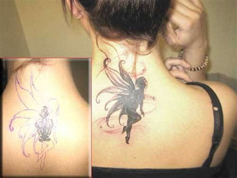 neck cover up tattoos integratr ideas back neck wings