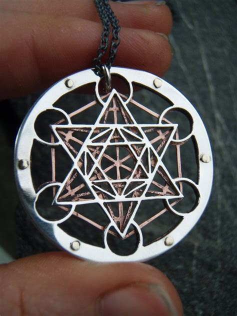 large metatron s cube pendant layer sterling