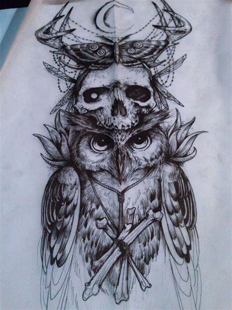 dark design tattoos tattoos owl macabre arm
