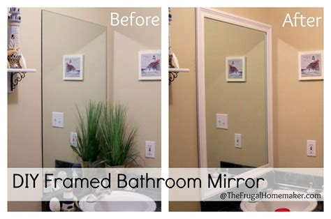 this thrifty house framed bathroom mirror how to frame your bathroom mirrors beach inspired