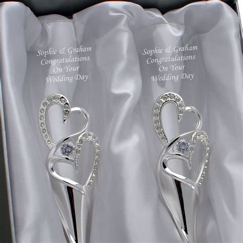 Engraved Silver Love Heart Champagne Flutes With Diamante