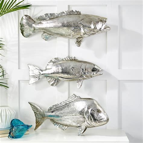 coastal silver fish wall sculptures set of 3