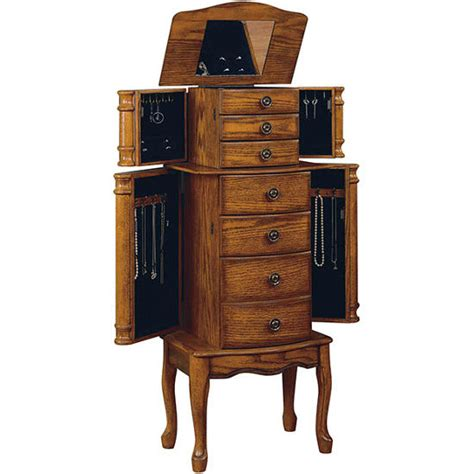 powell woodland oak jewelry armoire cabinet organizers jewelry armoire with 5 drawers