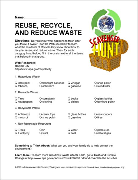 Recycle Worksheets by Reduce Recycle Reuse Worksheets