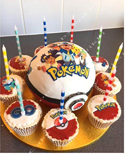 edible icing pokemon  cake decorations precut  cutting easy peel  note