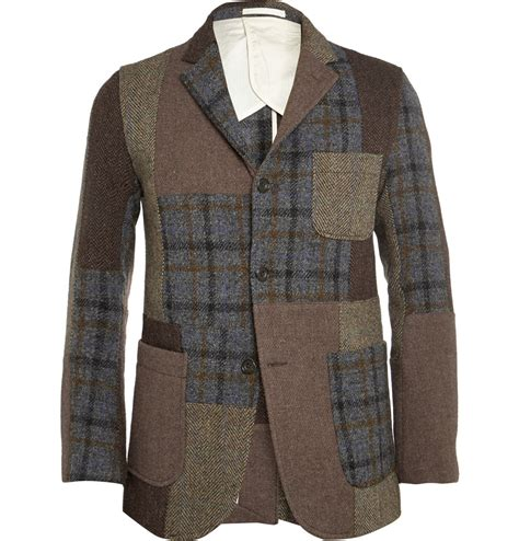 Patchwork Jacket Mens - beams plus patchwork harris tweed jacket in brown for