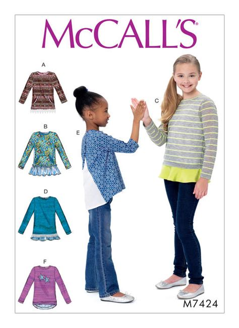 pattern review for mccall s 6564 mccall s 7424 childrens girls knit tops with hemline
