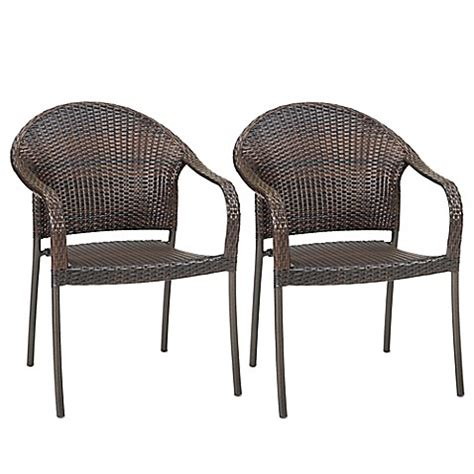 Stackable Wicker Patio Chairs Barrington Wicker Stacking Chairs Set Of 2 Bed Bath