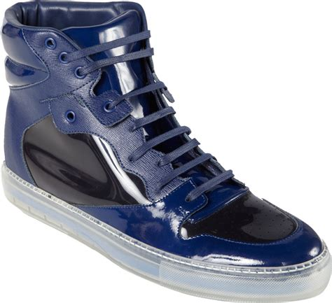 balenciaga blue sneakers balenciaga vinyl leather hightop sneakers in blue for