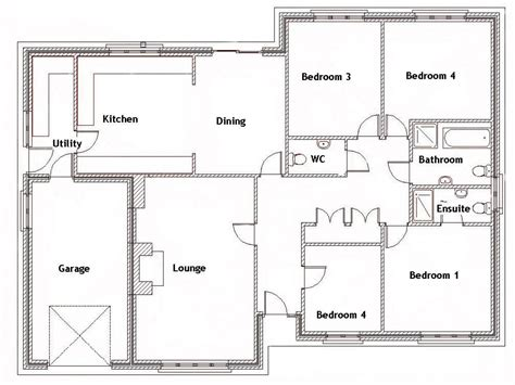 Simple 4 Bedroom Floor Plans 4 Bedroom House With Pool 4 Bedroom House Floor Plans