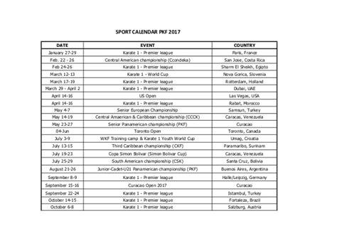 Sports Calendar Pkf Sports Calendar 2017