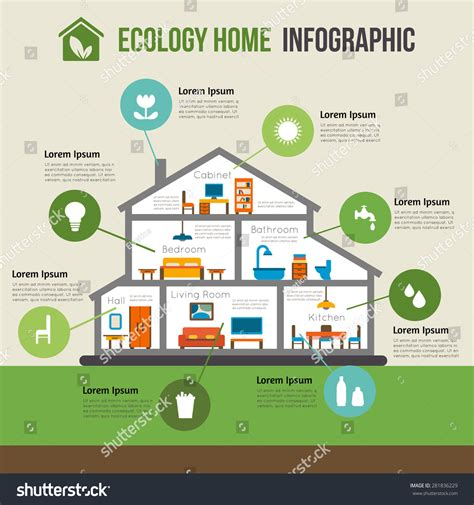 eco friendly home infographic with cutaway diagram of ecofriendly home infographic ecology green house stock