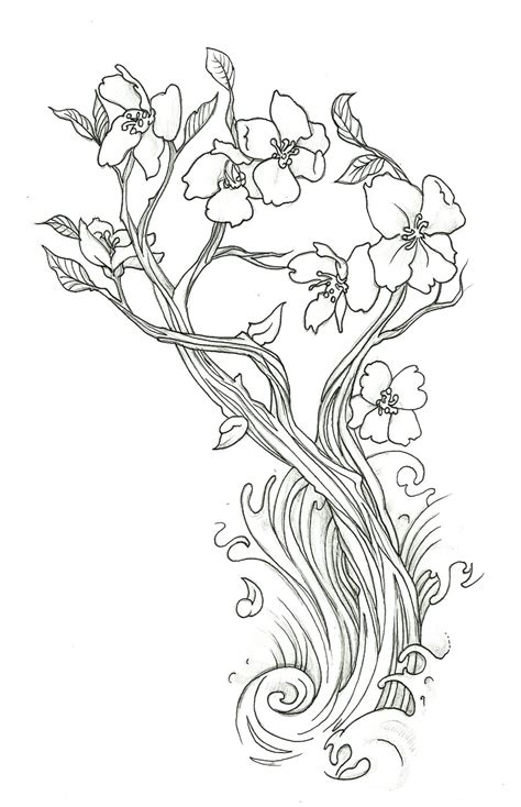 japanese cherry tree coloring page drawn cherry blossom coloring page pencil and in color