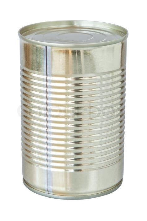 the closed tin cans on a white background stock photo