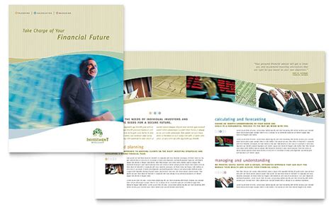 publisher brochure templates investment management brochure template word publisher