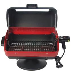 meco tabletop electric bbq grill with rotisserie 9309w bbq guys