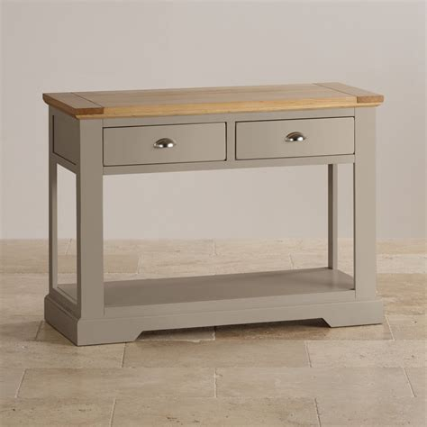 Gray Console Table St Ives Grey Console Table With Brushed Oak Top