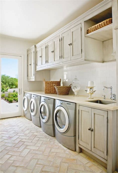 laundry room floor gray washed cabinets mediterranean laundry room palm design