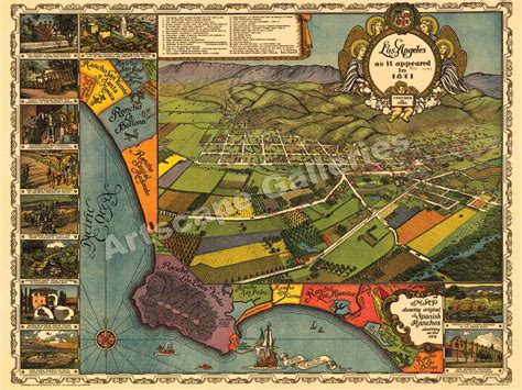map of los angeles poster los angeles california panoramic map 1871 poster 18x24 ebay
