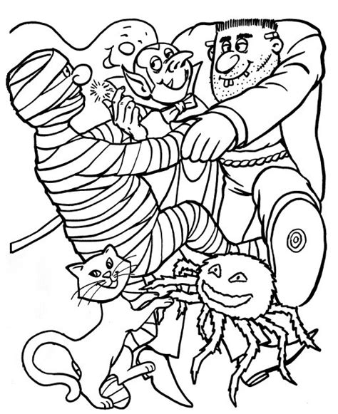halloween coloring pages monsters free scary spider coloring pages
