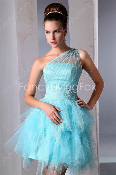 Terrific Blue One Shoulder Short Sweet 16 Dresses at fancyflyingfox.com
