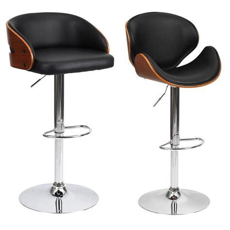 barstool chair walnut bentwood faux pu leather swivel barstools breakfast stool ebay