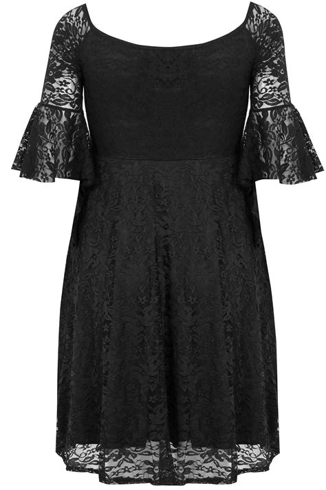 Dress Black Lace Cliona Limited limited collection black bardot lace dress with flute