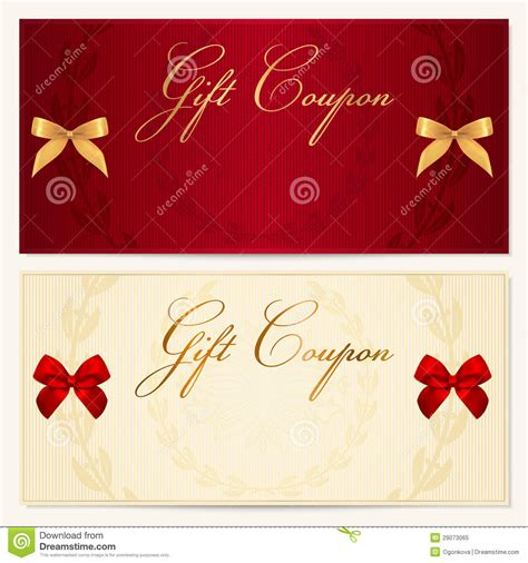 gift voucher coupon template bow ribbons stock vector