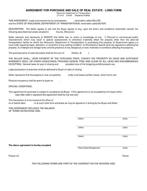 Free Blank Purchase Agreement Form Images Agreement To Purchase Real Estate Form Free Legal Simple Real Estate Purchase Agreement Template