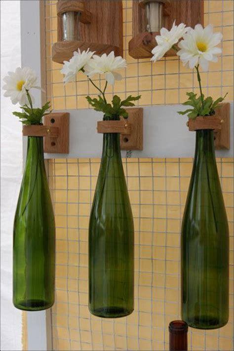 Wine Bottle Flower Vase by Hanging Repurposed Wine Bottle Flower Vase Set
