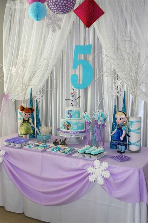 purple tablecloth frozen birthday party ideas photo    catch  party birthday