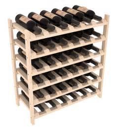 36 bottle stacking wood wine rack shelf in ponderosa pine