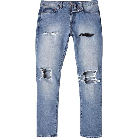 Light Guess Ripped river island light wash ripped slim in blue for lyst