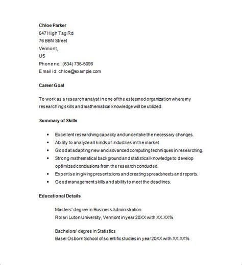 Junior Business Analyst Resume Sles Marketing Analyst Resume Template 16 Free Sles Exles Format Free