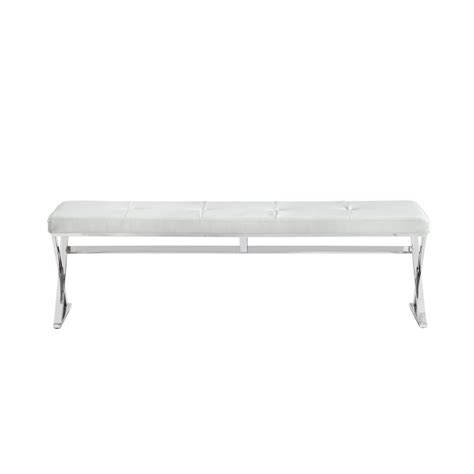 white faux leather bench savannah white faux leather bench bn1301p wht the home depot