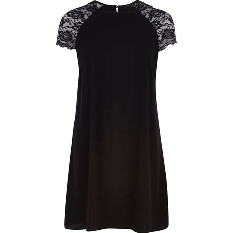 river island black swing dress river island black lace sleeve swing dress in black lyst