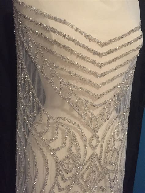 rhinestone beaded fabric dress panel