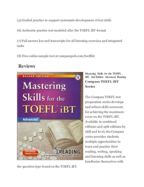 Developing Skills For Toefl Ibt 2nd Edition Intermediate With Audio mastering skills for the toefl ibt advanced reading
