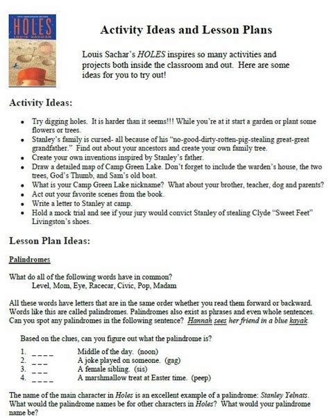 Holes Worksheets by Activity Ideas And Lesson Plans For Louis Sachar S Holes