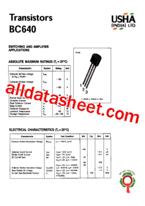 transistor company bc640 datasheet pdf list of unclassifed manufacturers
