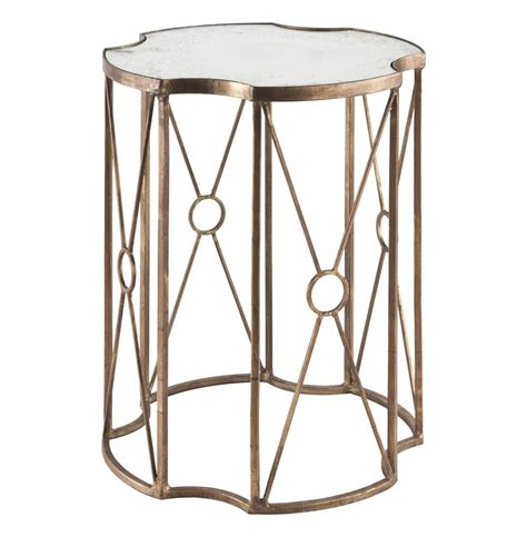Marlene Hollywood Gold Leaf Antique Mirror End Table 20