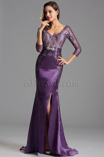 Sepatu Casual Three X C 010 Black lace sleeves high slit purple formal gown