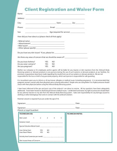 Tanning Client Card Template by New Client Tanning Form Tanning Salon