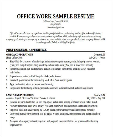 Office Work Resume by Office Work Resume Resume Ideas