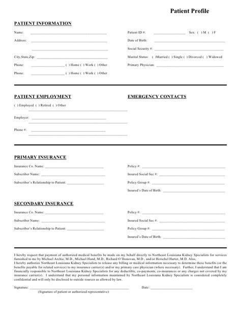 Patient Profile Template Northeast Louisiana Kidney Specialists Patient Profile Form