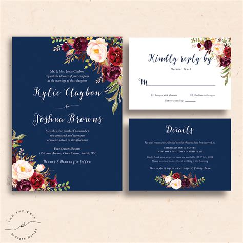 Wedding Invitations Navy by Navy Floral Wedding Invitations Navy Wedding Invite Marsala