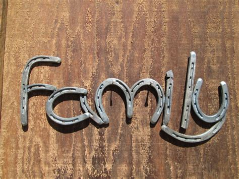 horseshoe family sign rustic home decor by rusticandcountry