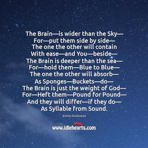 the brain is wider than the sky thinglink buckets quotes on idlehearts