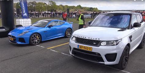 racing land rover jaguar f type svr vs range rover sport svr makes for a